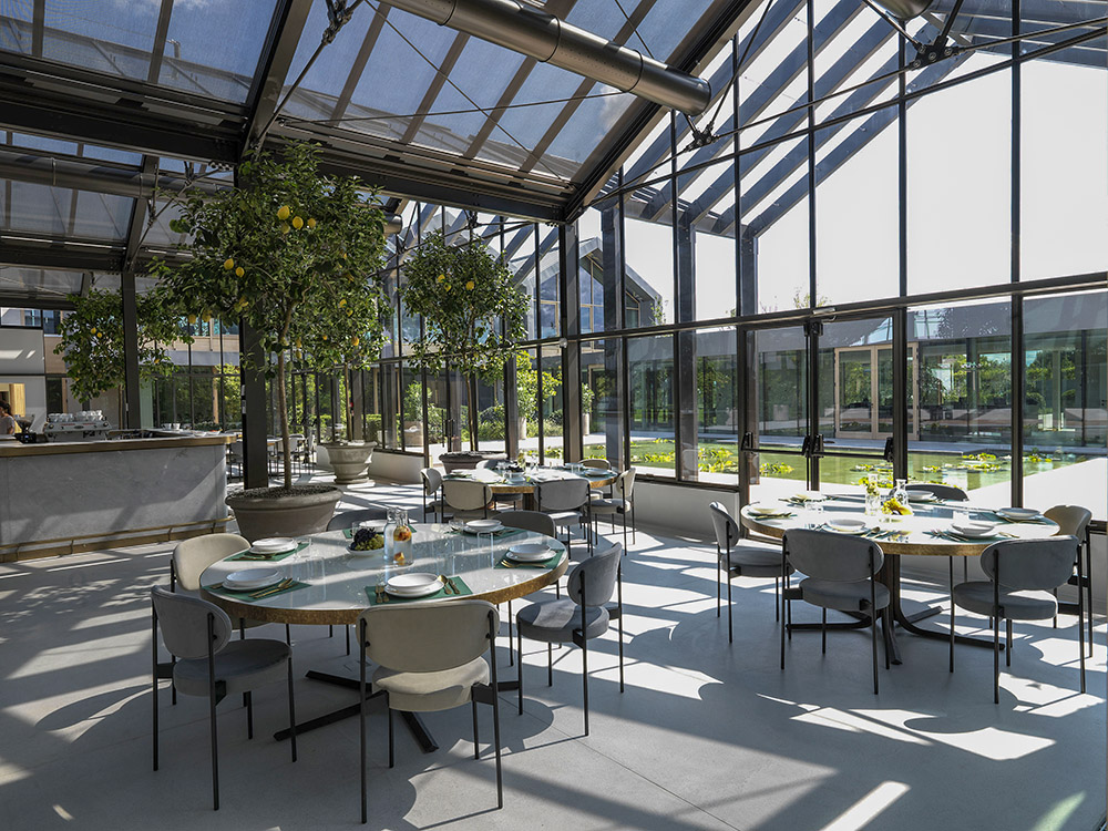 "Our lava surfaces are situated in a big glass building, a bright ""greenhouse-restaurant"""